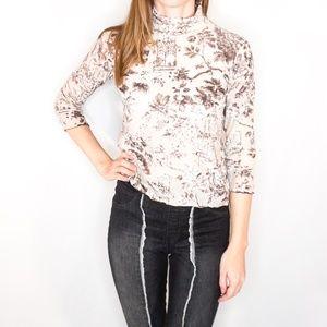 ARMANI Collezioni Velvet Burnout Shirt Floral Top